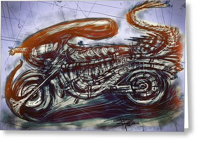 Biological Mixed Media Greeting Cards - The Alien Bike Greeting Card by Russell Pierce