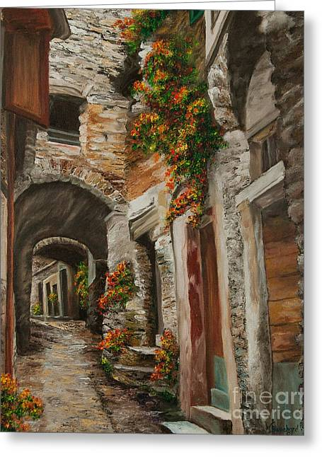Village In Europe Greeting Cards - The Alleyway Greeting Card by Charlotte Blanchard