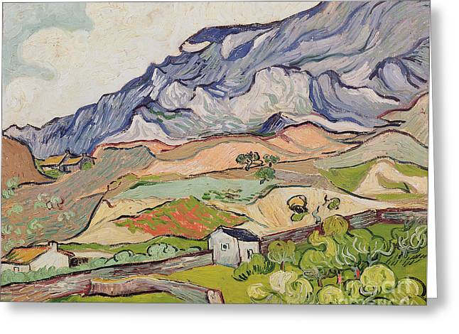 Saint Remy Greeting Cards - The Alpilles Greeting Card by Vincent Van Gogh