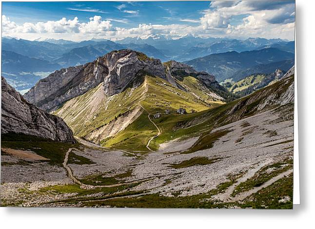 Swiss Photographs Greeting Cards - The Alps from Pilatus Kulm Greeting Card by W Chris Fooshee