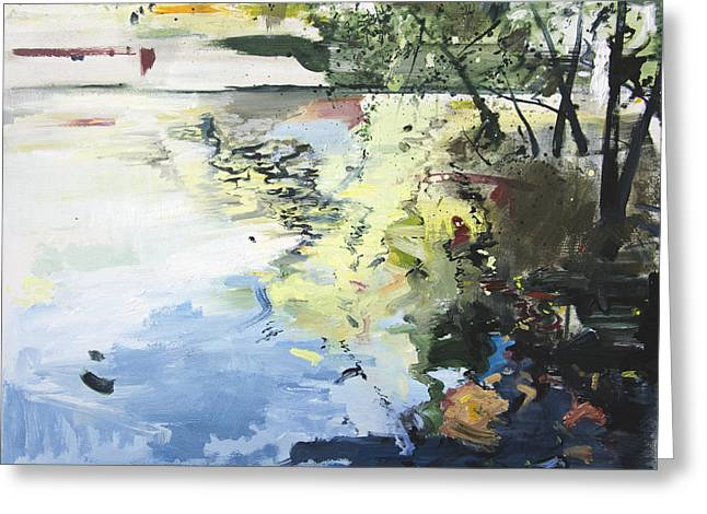 Reflecting Water Paintings Greeting Cards - The Alster in High Summer Greeting Card by Calum McClure