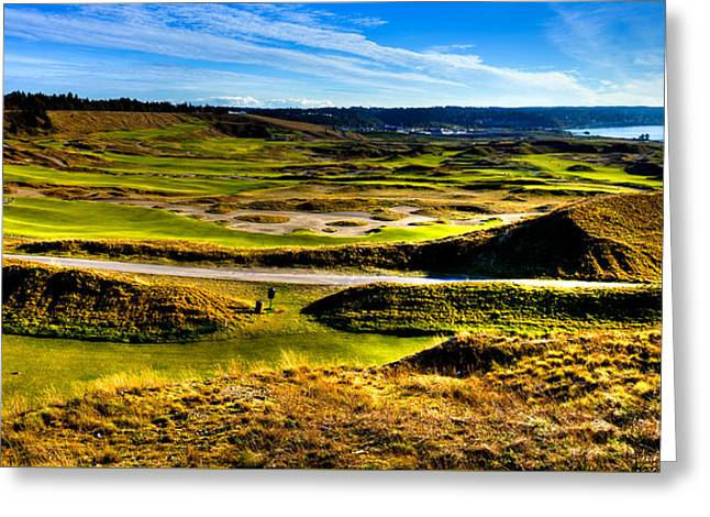 Us Open Greeting Cards - The Amazing Vista of Chambers Bay Golf Course Greeting Card by David Patterson
