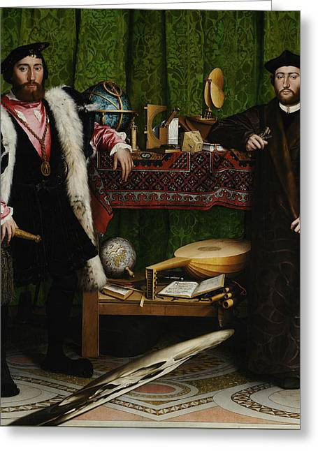 Lute Greeting Cards - The Ambassadors Greeting Card by Hans Holbein the Younger