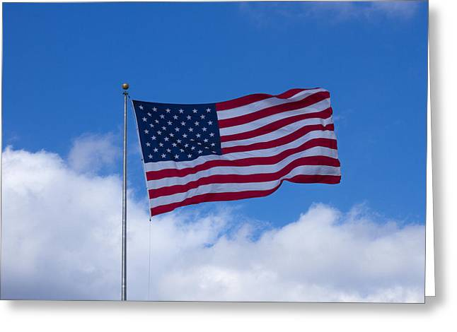 Flags Flying Greeting Cards - The America Flag Waves On Greeting Card by Reid Callaway