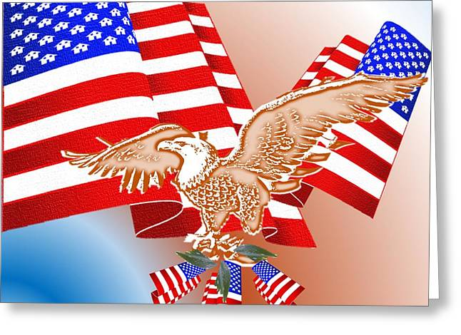 4th July Mixed Media Greeting Cards - The American Flag Greeting Card by Belinda Threeths