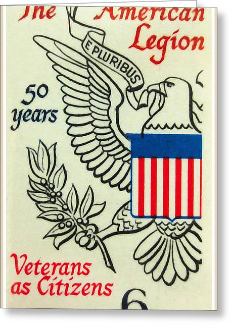 Postal Paintings Greeting Cards - The American Legion Jubliee stamp Greeting Card by Lanjee Chee