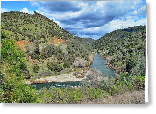 River Rafting Art Print Greeting Cards - The American River Greeting Card by Maria Jansson