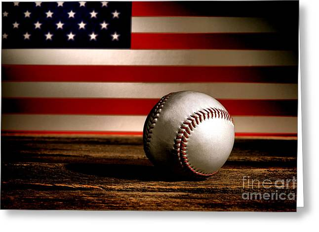 Baseball Game Greeting Cards - The American Sport Greeting Card by Olivier Le Queinec