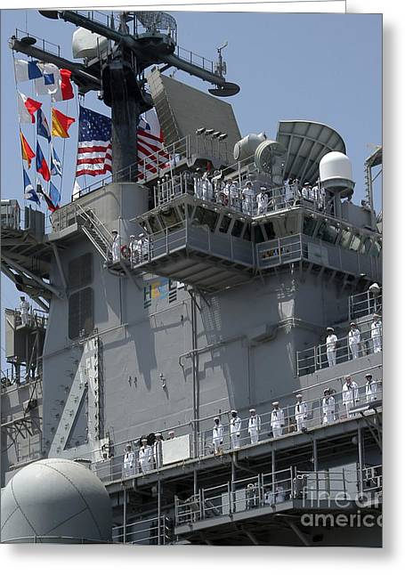 Homecoming Greeting Cards - The Amphibious Assault Ship Uss Boxer Greeting Card by Stocktrek Images