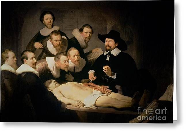 Lessons Paintings Greeting Cards - The Anatomy Lesson of Doctor Nicolaes Tulp Greeting Card by Rembrandt Harmenszoon van Rijn