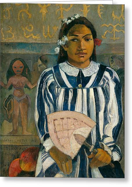 Gauguin Style Greeting Cards - The Ancestors of Tehamana OR Tehamana Has Many Parents Greeting Card by Paul Gauguin