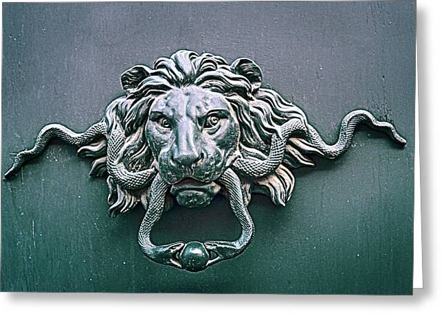 the ancient bronze door handle on the door of the old Roman houses Greeting Card by George Westermak