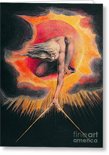 Knelt Paintings Greeting Cards - The Ancient of Days Greeting Card by William Blake