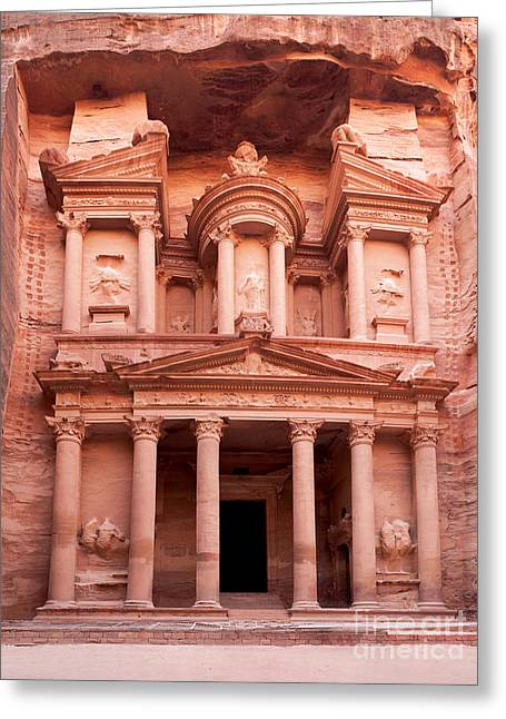 Heritage Greeting Cards - The ancient Treasury Petra Greeting Card by Jane Rix