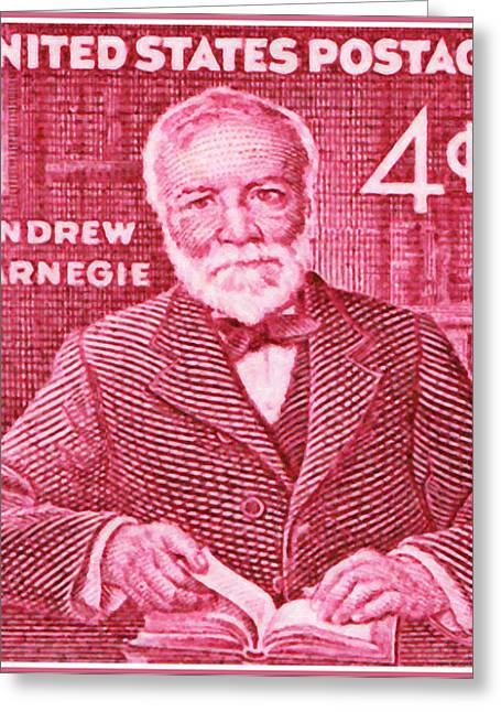 Closeup Greeting Cards - The Andrew Carnegie stamp Greeting Card by Lanjee Chee
