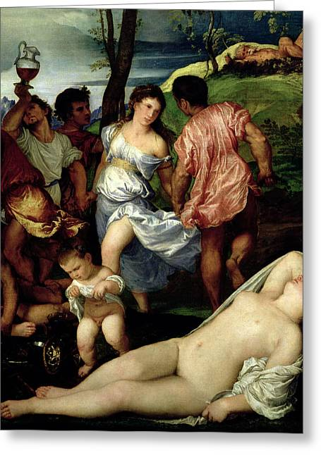 Urinating Greeting Cards - The Andrians Greeting Card by Titian
