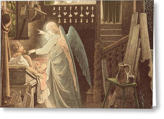 The Angel Appearing To Joseph Greeting Card by Victor Paul Mohn