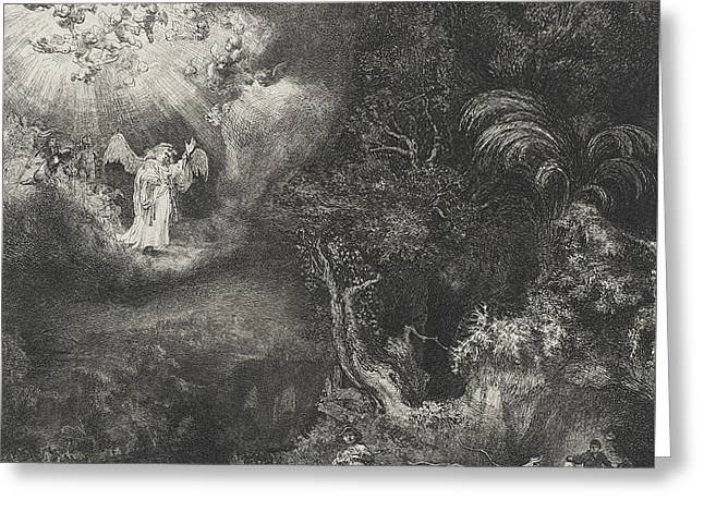 Shepherds Greeting Cards - The Angel Appearing to the Shepherds Greeting Card by Rembrandt
