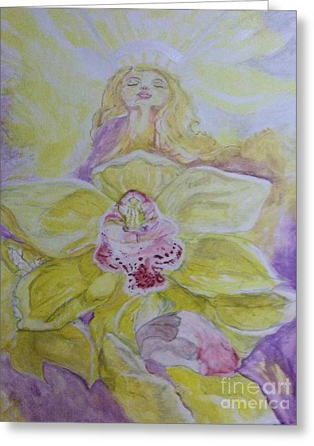 Greeting Cards - The Angel inside the Orchid Greeting Card by Michelle Reid