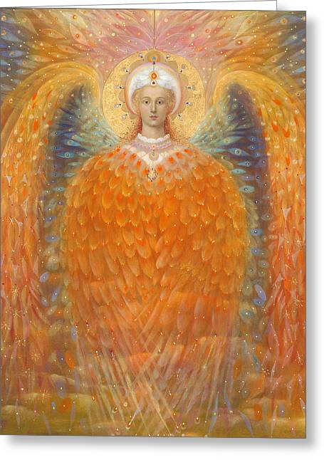 Gold Angel Greeting Cards - The Angel of Justice Greeting Card by Annael Anelia Pavlova