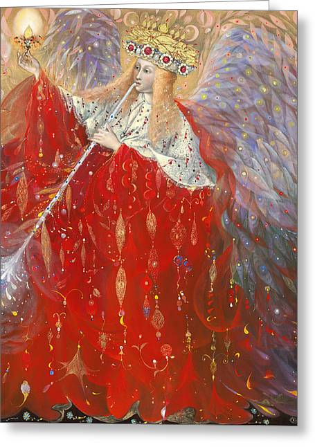 Gold Angel Greeting Cards - The Angel of Life Greeting Card by Annael Anelia Pavlova