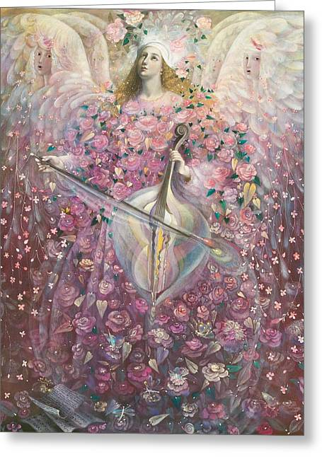 Playing Angels Greeting Cards - The Angel of Love Greeting Card by Annael Anelia Pavlova