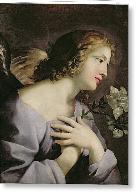 The Angel Of The Annunciation Greeting Card by Giovanni Francesco Romanelli