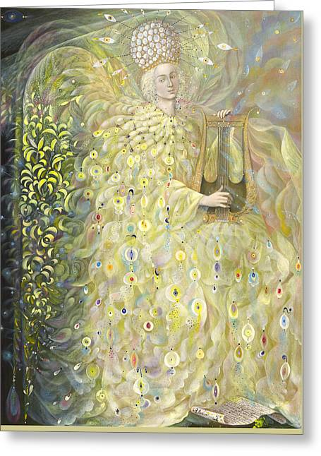 Gold Angel Greeting Cards - The Angel of Wisdom Greeting Card by Annael Anelia Pavlova