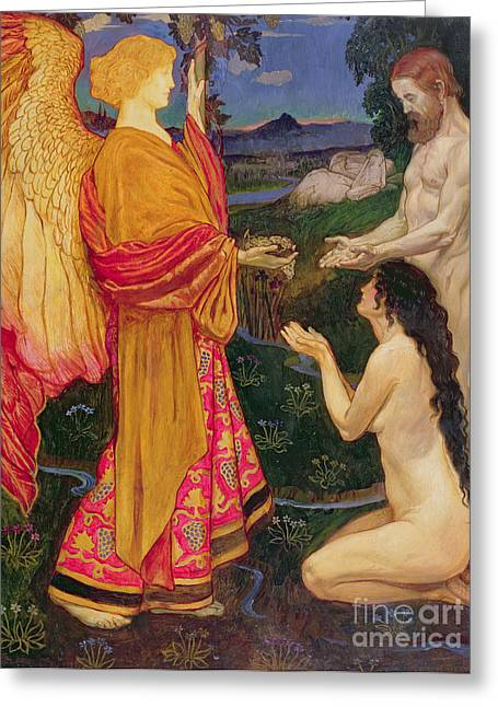 Christian Paintings Greeting Cards - The Angel offering the fruits of the Garden of Eden to Adam and Eve Greeting Card by JBL Shaw