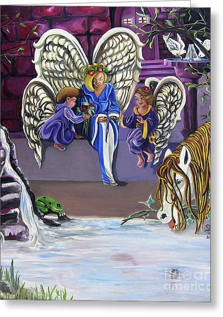 Angel work Paintings Greeting Cards - The Angels Greeting Card by Toni  Thorne