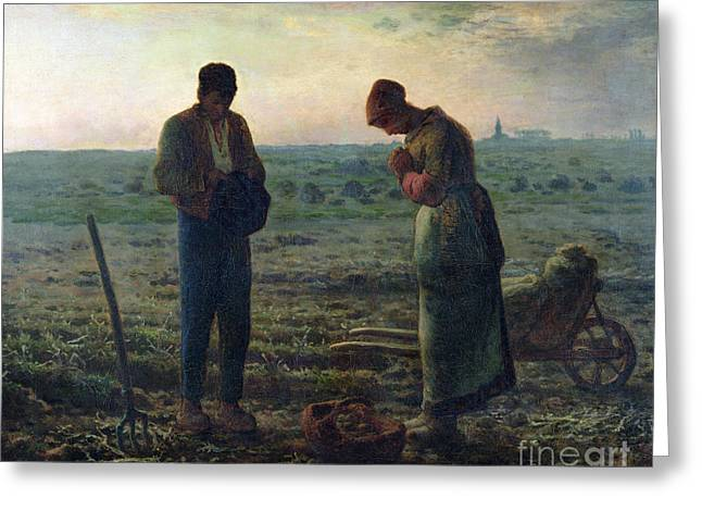 Rural Landscapes Paintings Greeting Cards - The Angelus Greeting Card by Jean-Francois Millet