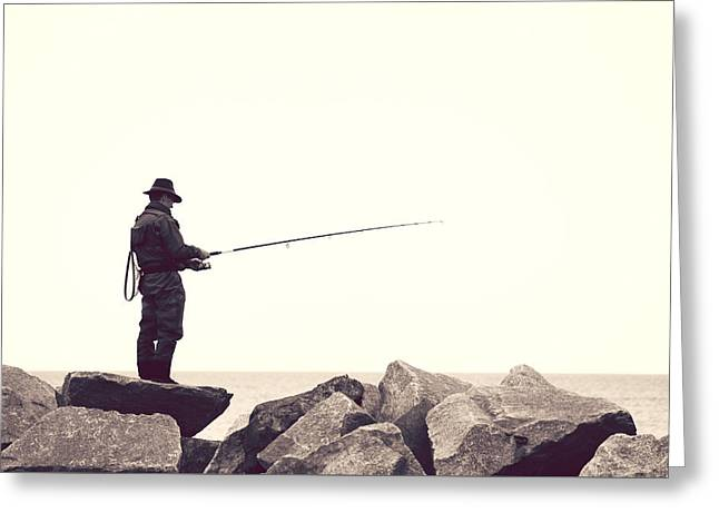 Angling Photographs Greeting Cards - The angler on the rocks Greeting Card by Heike Hultsch
