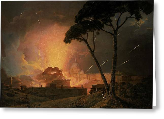 The Annual Girandola At The Castel Sant'angelo, Rome Greeting Card by Joseph Wright