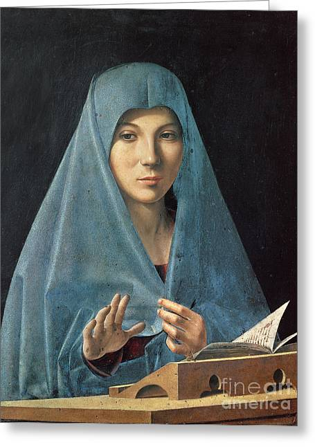 Blessed Mother Greeting Cards - The Annunciation Greeting Card by Antonello da Messina