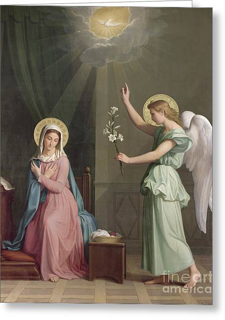 Doves Paintings Greeting Cards - The Annunciation Greeting Card by Auguste Pichon