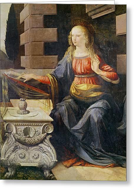 The Annunciation   Detail Of The Virgin Greeting Card by Leonardo Da Vinci
