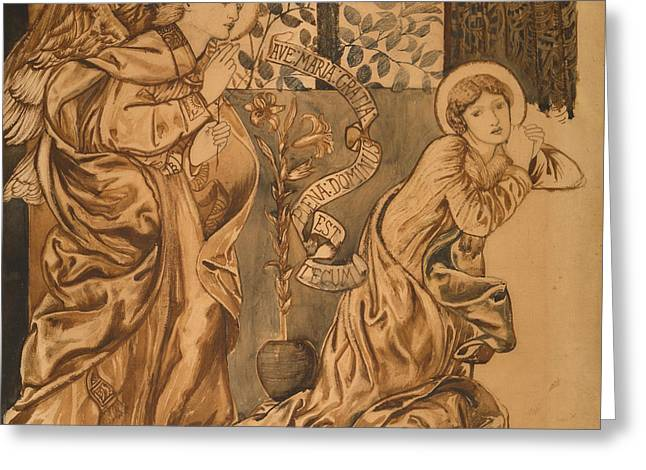 Virgin Mary Drawings Greeting Cards - The Annunciation Greeting Card by Edward Burne-Jones