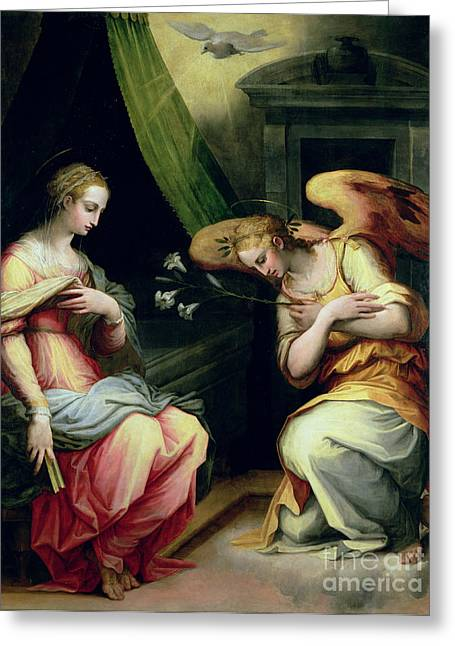 The Annunciation Greeting Card by Giorgio Vasari