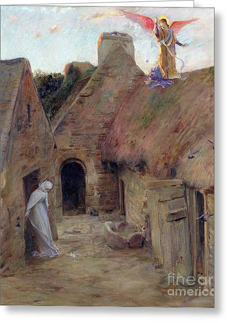 Messenger Greeting Cards - The Annunciation Greeting Card by Luc Oliver Merson