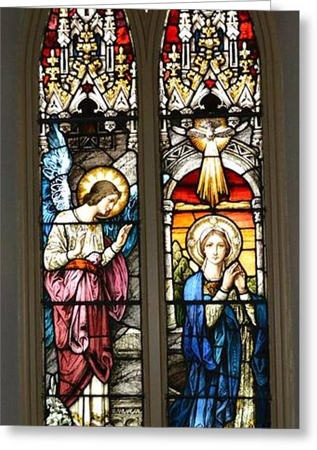 Charlotte Greeting Cards - The Annunciation Stained Glass Greeting Card by Richard Jenkins