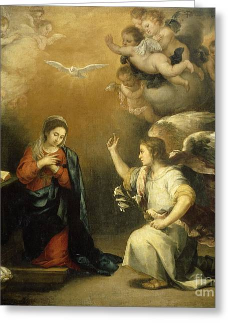 Bartolome Esteban Murillo Greeting Cards - The Annunciation to Mary Greeting Card by Celestial Images