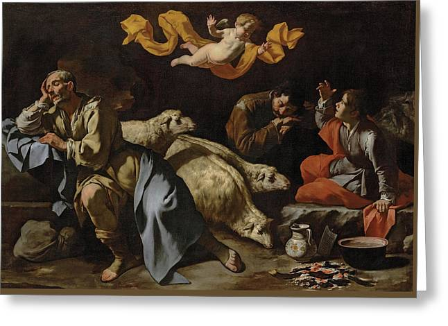 The Annunciation To The Shepherds Greeting Card by Master of the Annunciation to the Shepherds