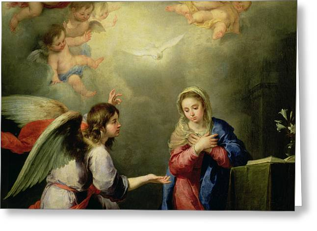 Virgin Mary Photographs Greeting Cards - The Annunciationth  Greeting Card by Bartolome Esteban Murillo