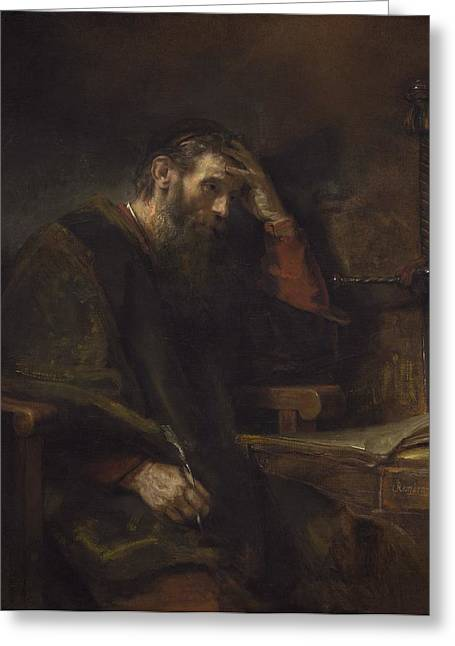 Worship God Paintings Greeting Cards - The Apostle Paul Greeting Card by Rembrandt Van Rijn