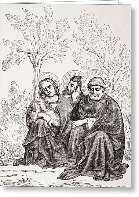 Mount Olives Greeting Cards - The Apostles In The Garden Of Greeting Card by Vintage Design Pics