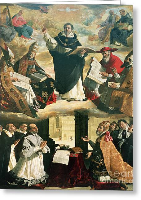 St Thomas Greeting Cards - The Apotheosis of Saint Thomas Aquinas Greeting Card by Francisco de Zurbaran