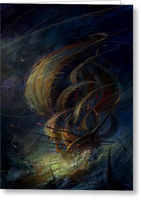 Concept Paintings Greeting Cards - The Apparation Greeting Card by Philip Straub