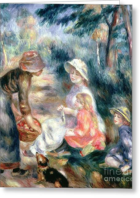 Apple Picking Greeting Cards - The Apple-Seller Greeting Card by Pierre Auguste Renoir
