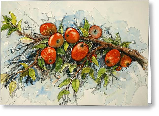 Fruit Tree Art Greeting Cards - The Apple Tree Greeting Card by Shirley Sykes Bracken