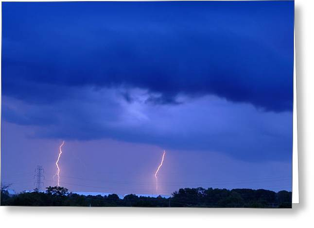 Lightning Bolts Greeting Cards - The Approching Storm Greeting Card by Mark Fuller